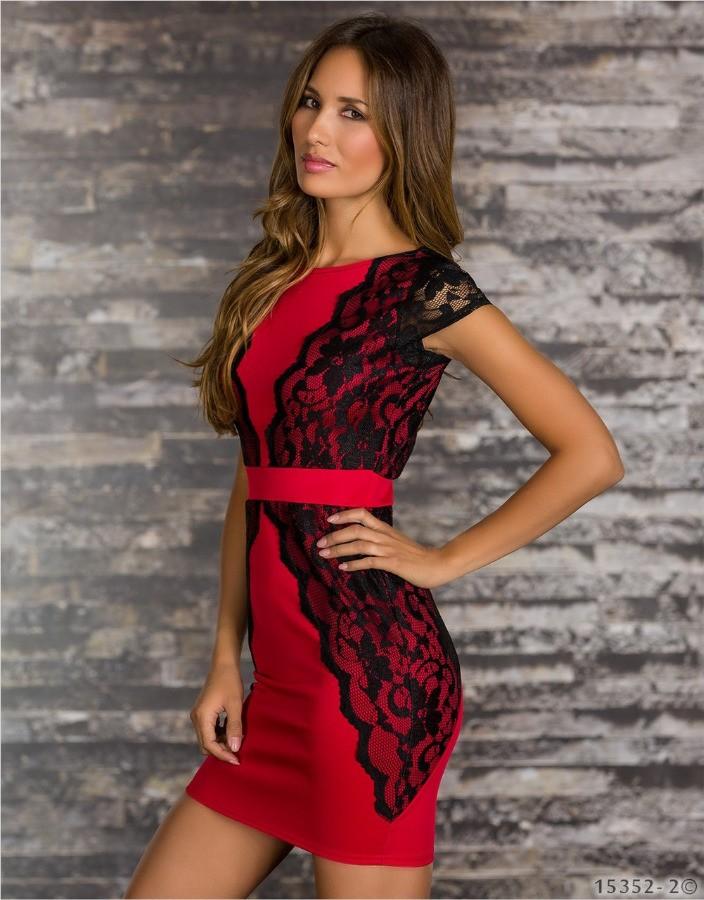 Платье черно красное короткое